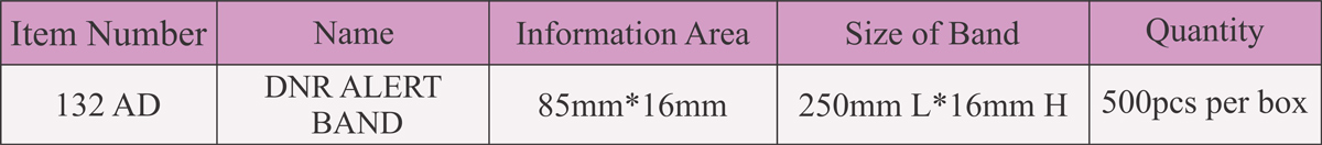 مشخصات دستبند بیمار DNR