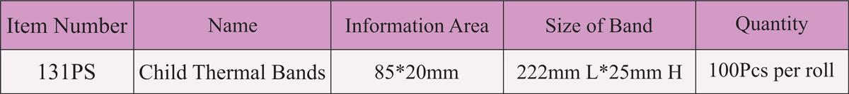 مشخصات دستبند بیمار چاپ حرارتی نوزاد