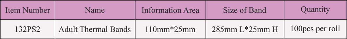 مشخصات رول دستبند بیمار چاپ حرارتی