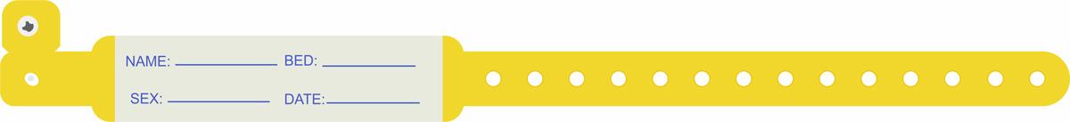 دستبند بیمار پلاستیکی بزرگسال زرد