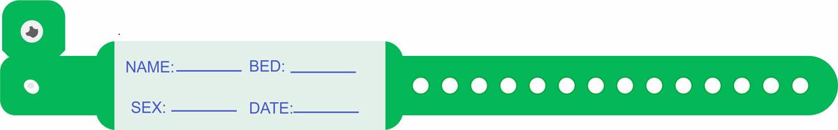 دستبند بیمار پلاستیکی نوزاد سبز